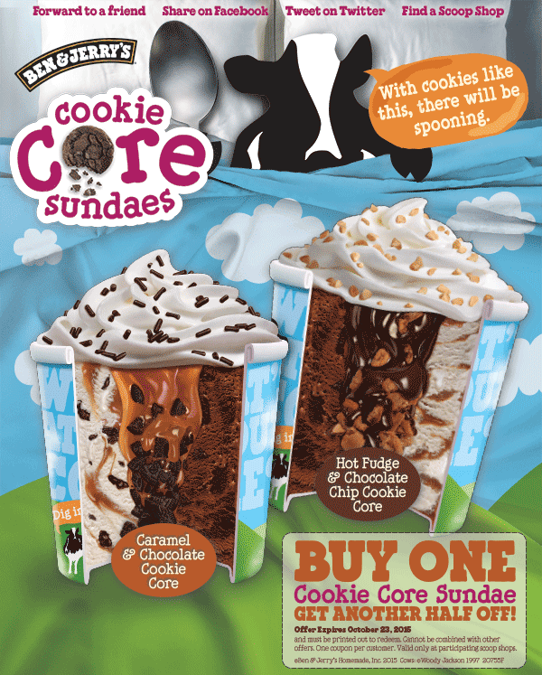 image about Ben and Jerry's Printable Coupons named Pinned Oct 14th: Minute cookie main ice product sundae 50