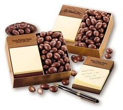 Note Holder with Chocolate Almonds! We apply a hand-rubbed natural oil finish to bring out the natural beauty of the Black Walnut wood, then firebrand your logo on the holder. Of course, we include Chocolate Covered Almonds, five-ounces.  Food gifts are ideal for your holiday gift giving!  Certified Kosher available upon request.
