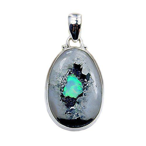 Sterling Silver Rare Rough Ethiopian Opal Pendant Necklace