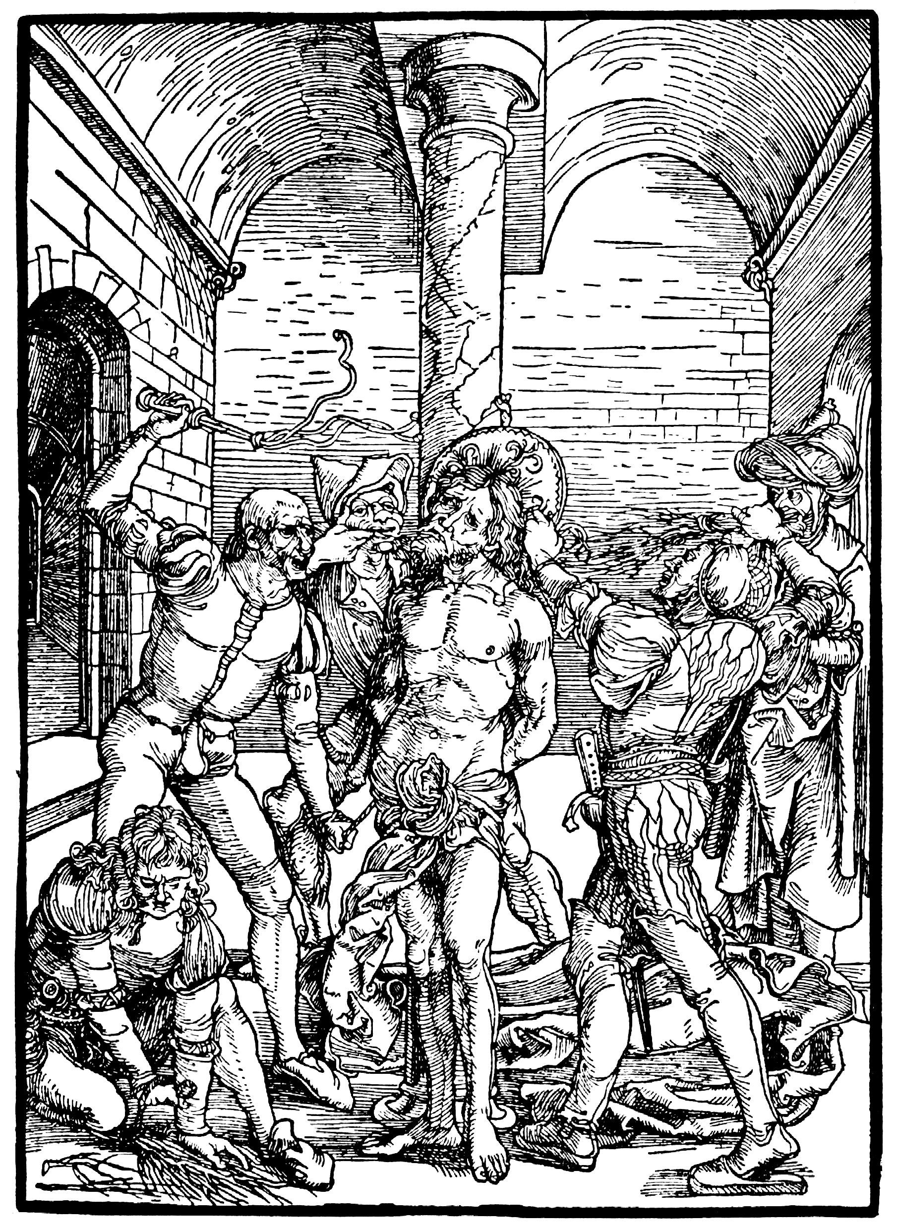 artist durer albrecht title die albertina passion szene geisselung christi date ca 1495 1497 druckgrafik holzdruck spanischer maler moderne kunst afrikanische