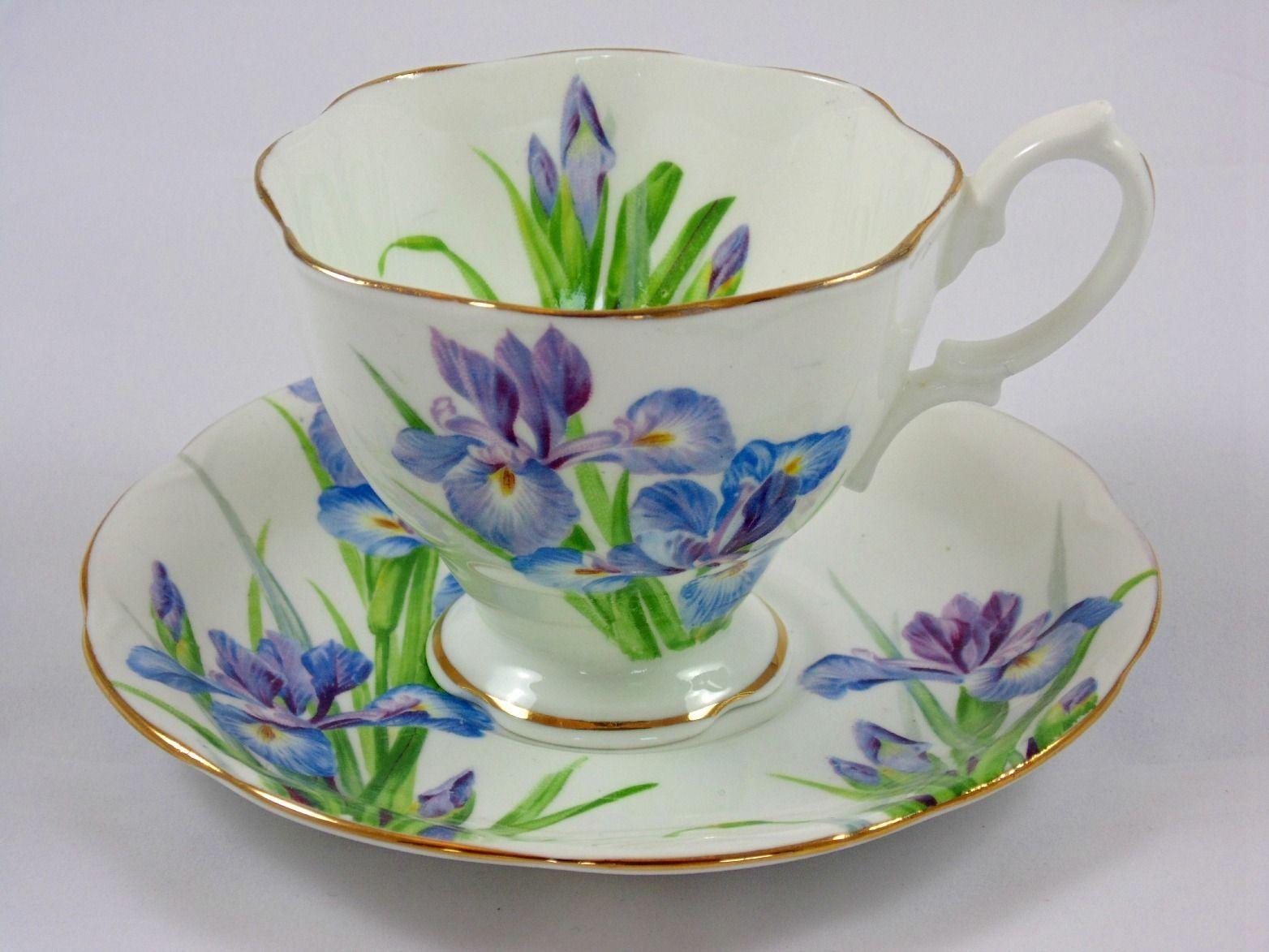 Royal Albert Crown China Quot Iris Quot Tea Cup Amp Saucer Royal