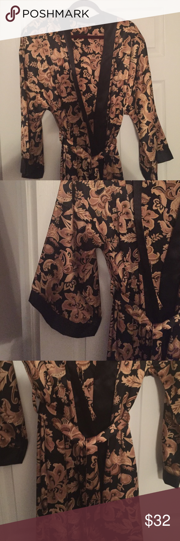 NWOT Satin, Sexy Robe in Black and Rich Gold This luxurious robe feels delightful on the skin. Don't exit the shower in terry cloth, exit in something elegant and sexy. (Fits 16/18) Adonna Intimates & Sleepwear Robes