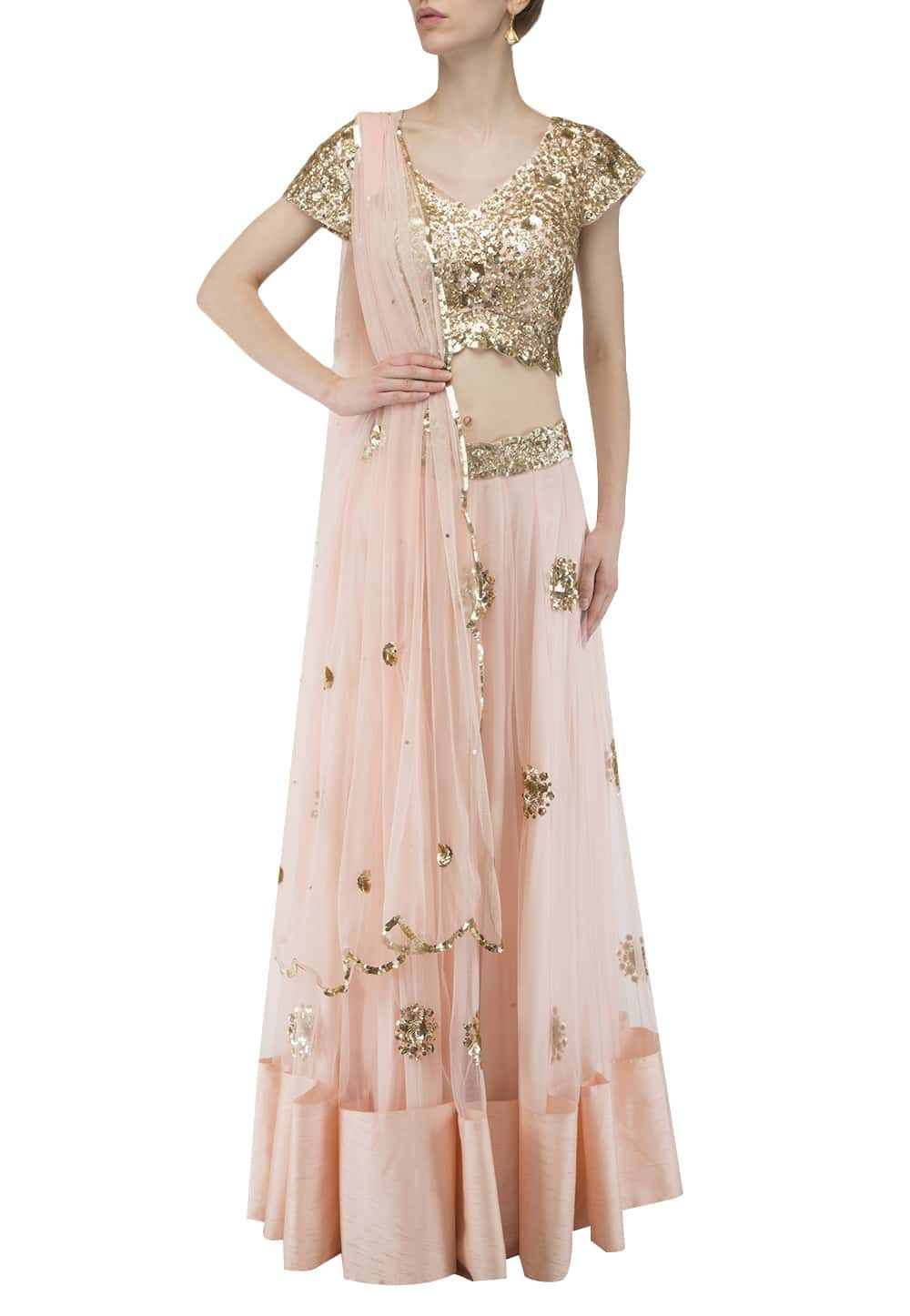 d63d782fc99faf Pastel Pink and Golden Sequin Embroidered Blouse, Lehenga and Dupatta  available only at IBFW