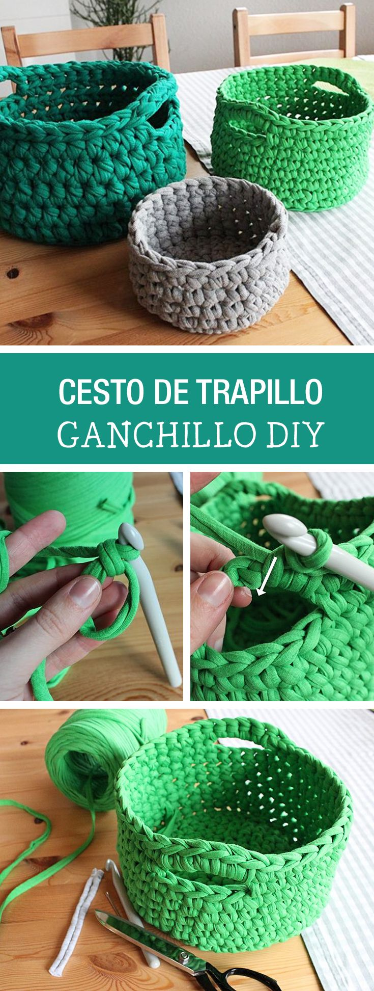 Tutoriales diy c mo hacer un cesto de trapillo v a for Tutoriales de trapillo