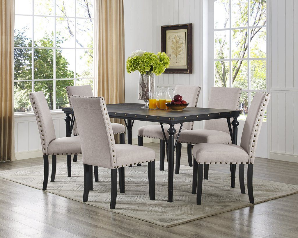 Room Biony 7 Piece Espresso Wood Dining Set With Tan Fabric Nail Head Chairs