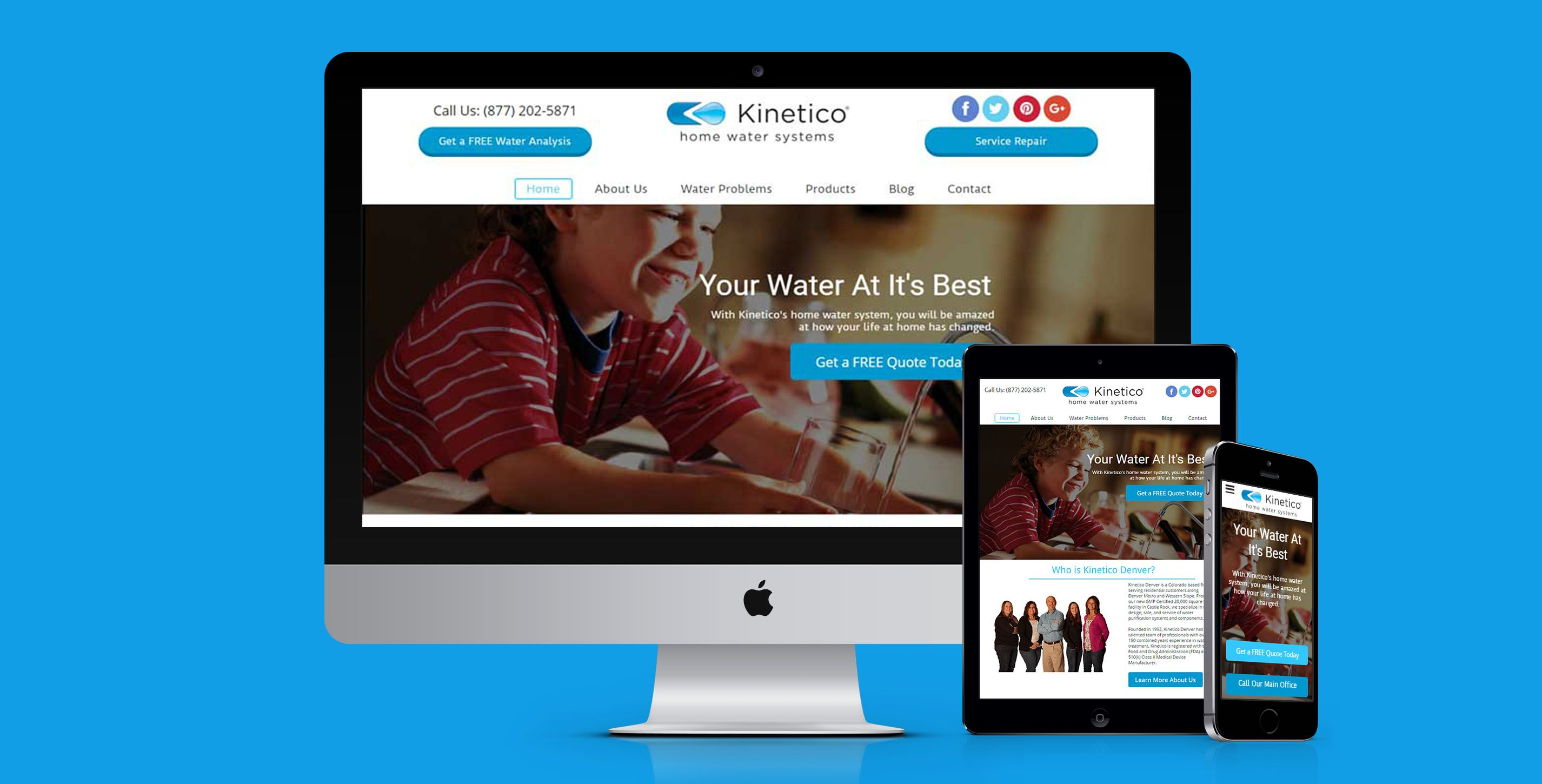 Responsive Web Design By Webact For Kinetico Denver In Castle Rock Colorado With Images Responsive Website Design Web Design Projects Web Design