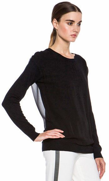 f9cba1eb672b82 $149 VINCE Chiffon Overlay Sweater Silk Cashmere Blend Top Size M Black  Orig 325 #Vince #Crewneck