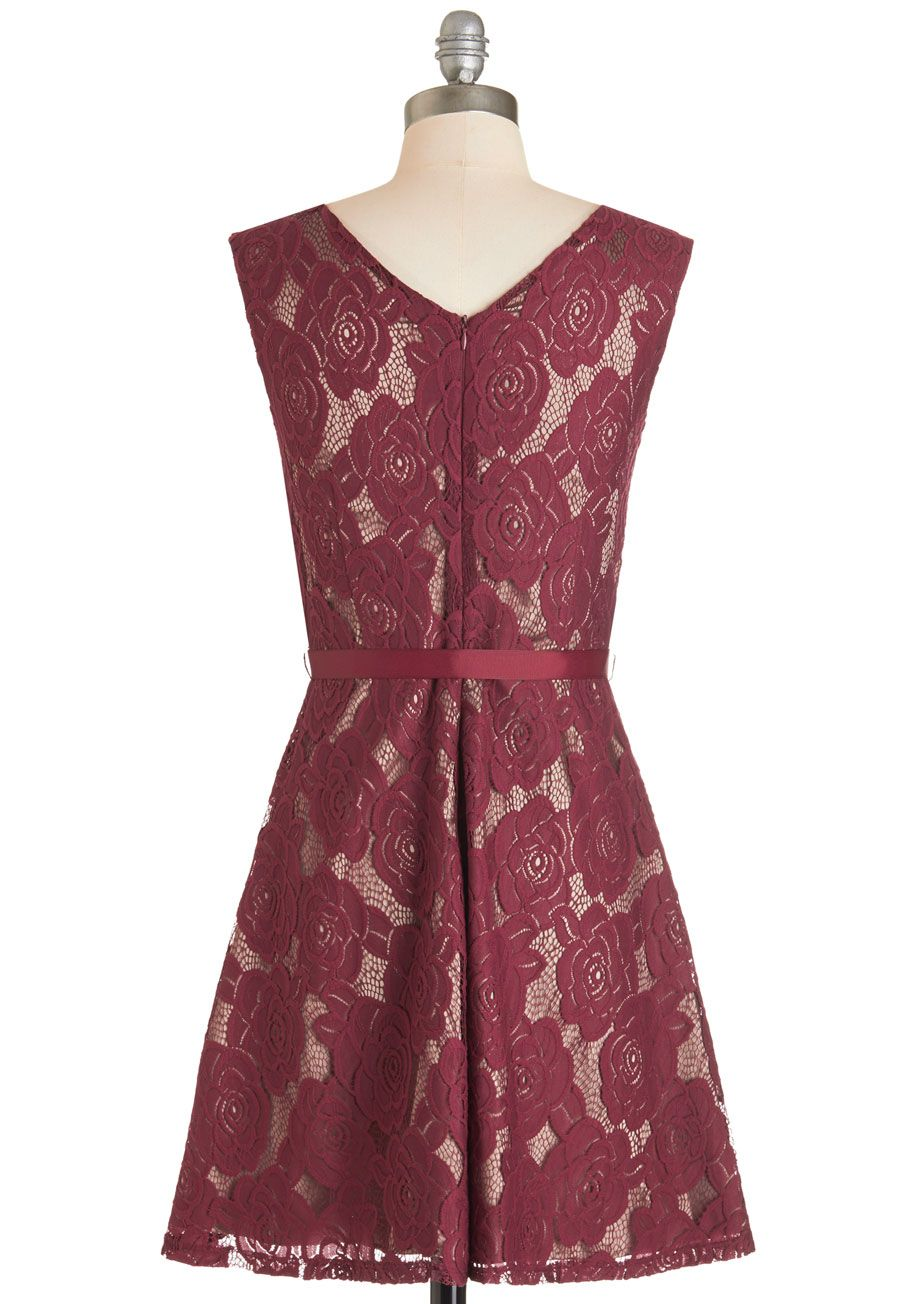 Enthrall About It Dress. The perfect ensemble can turn your entire day around, and thats just what happens when you twirl your way into this burgundy lace dress! #red #wedding #bridesmaid #modcloth