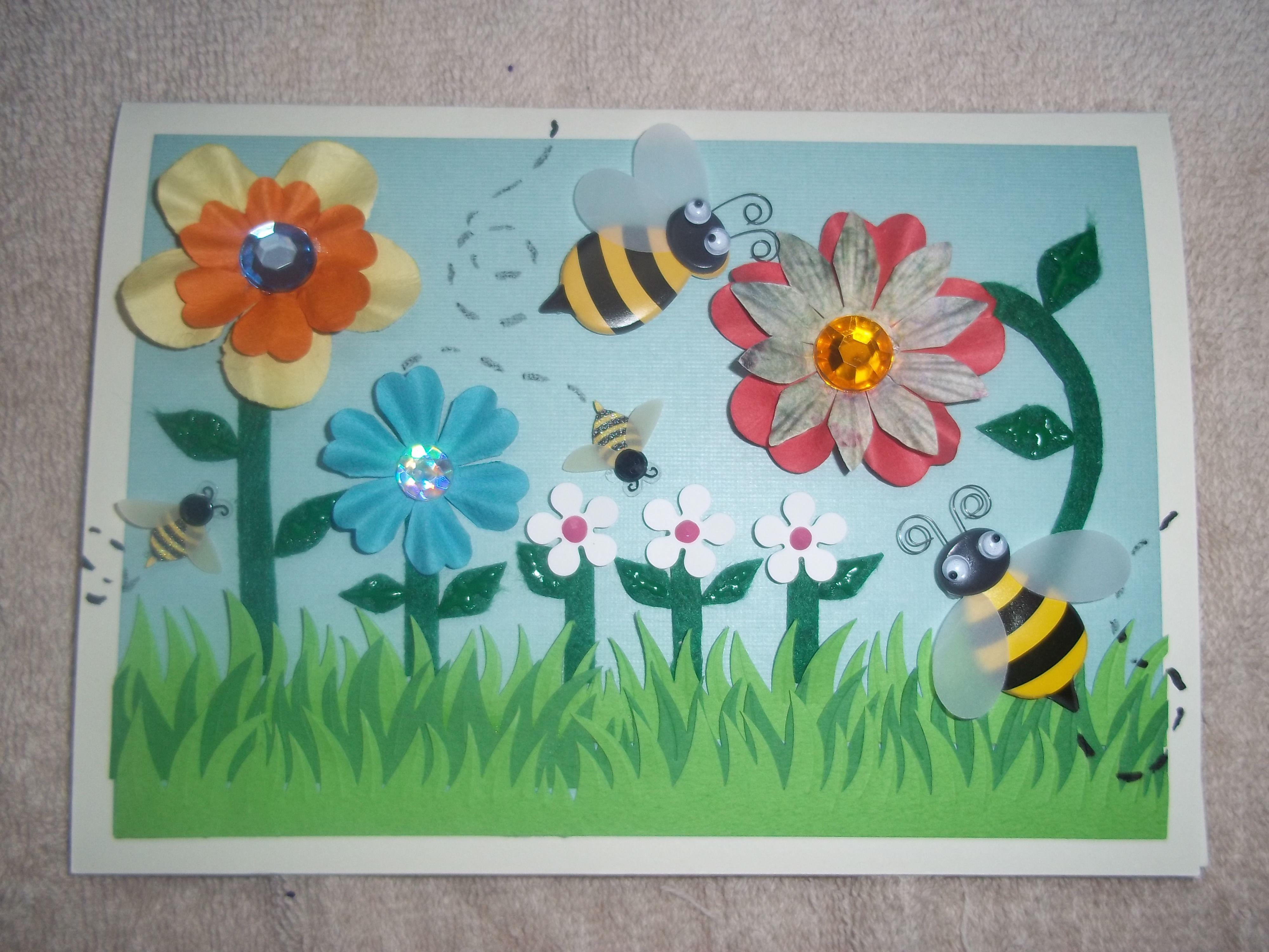 "Variation ""spring Flowers."" 3- Flowers & Bees. Paper"