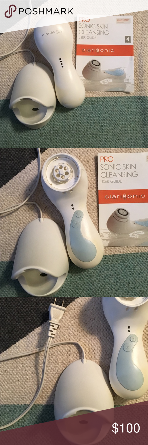 Clarisonic PRO skin cleansing brush Clarisonic PRO 4 speed facial cleansing brush. Just needs a brush head and is ready to go! No signs of wear has been loved and cared for, just two spots on the front base that you can not notice from the pics. Includes manual! Other