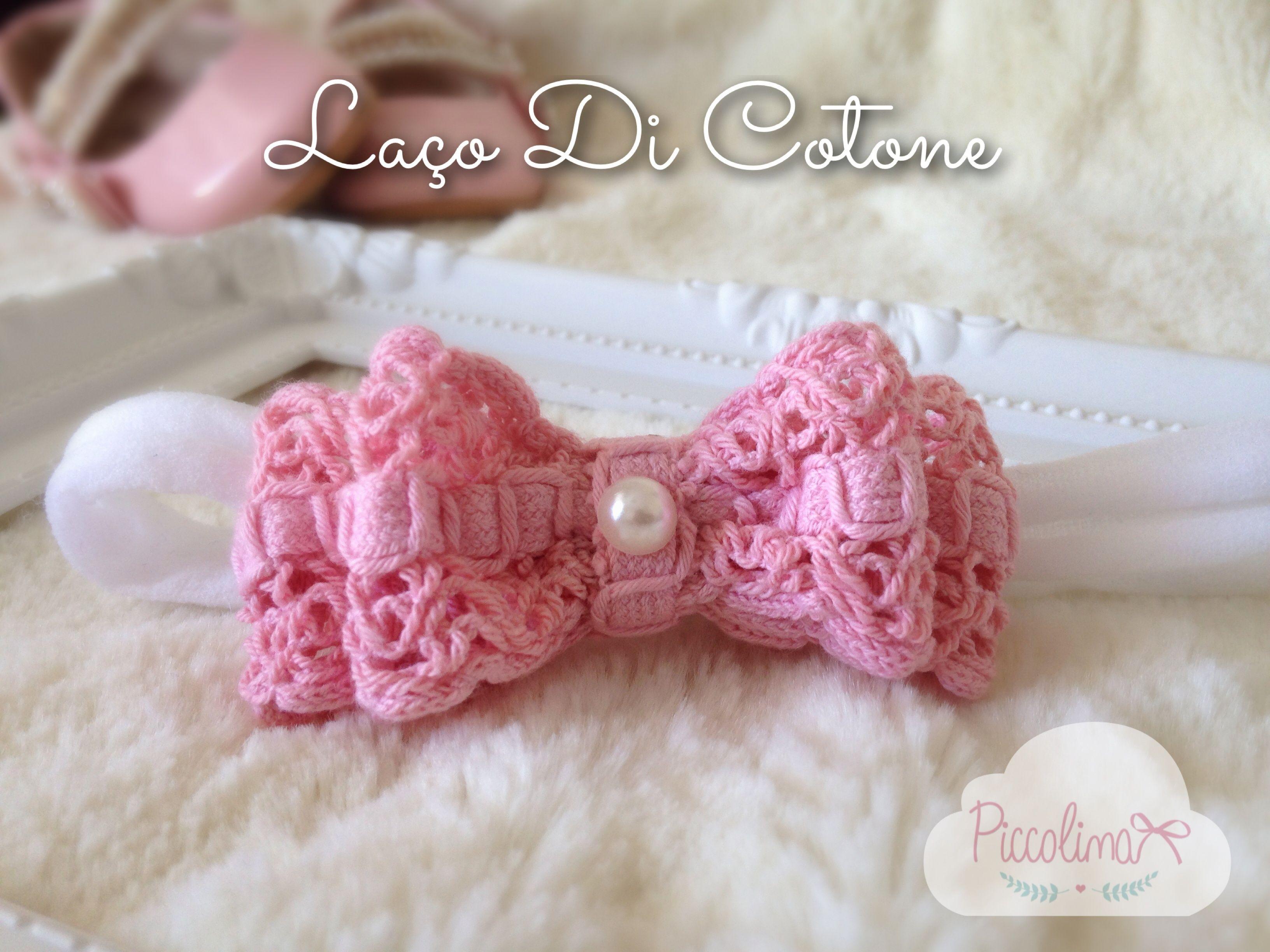 Laço de Crochê Piccolina - Faixinha estreita de meia de seda ou Bico de Pato. R$20,00
