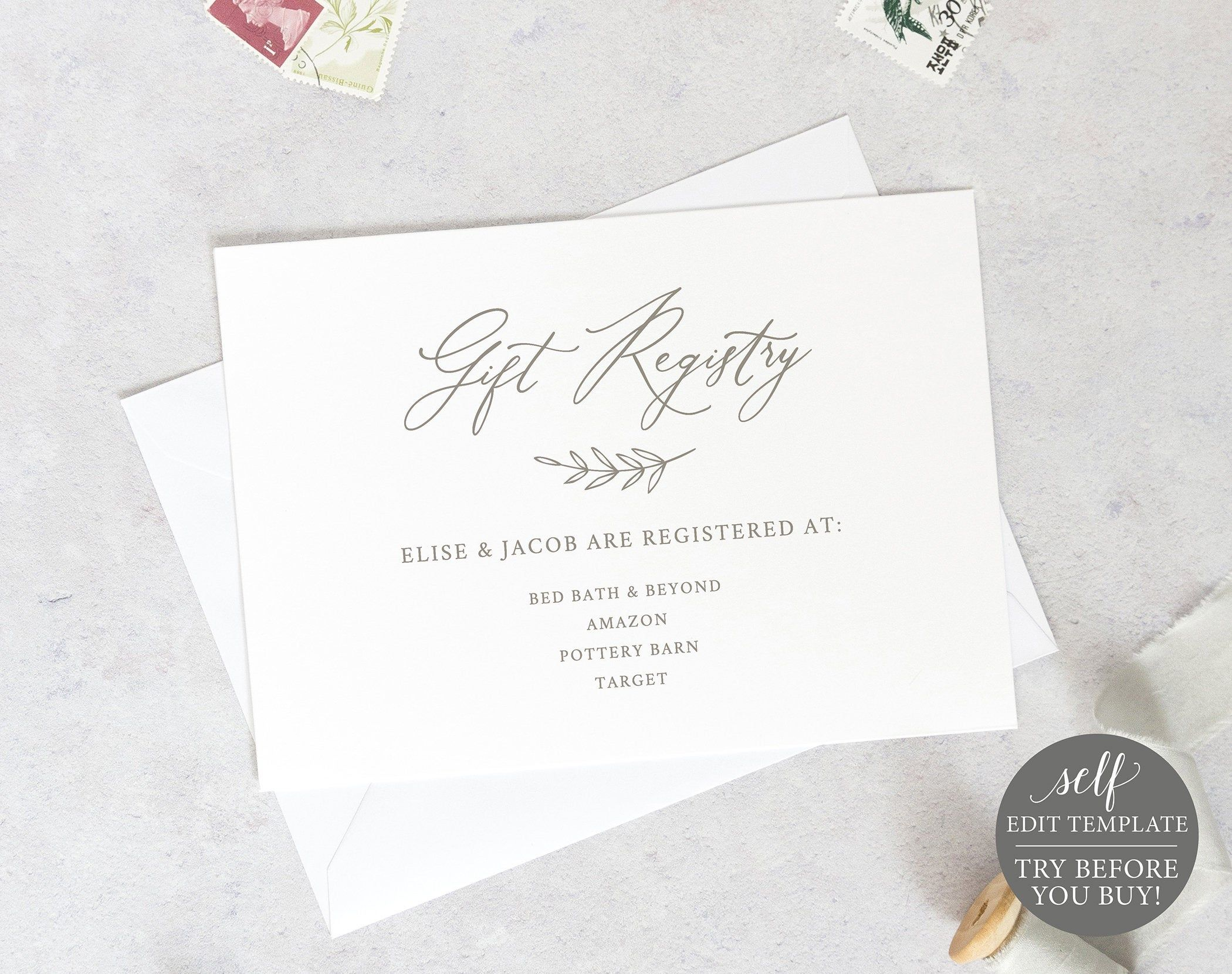 Gift Registry Card Template 6x4 Editable Instant Download Etsy Wedding Invitations Printable Templates Gift Registry Cards Card Template