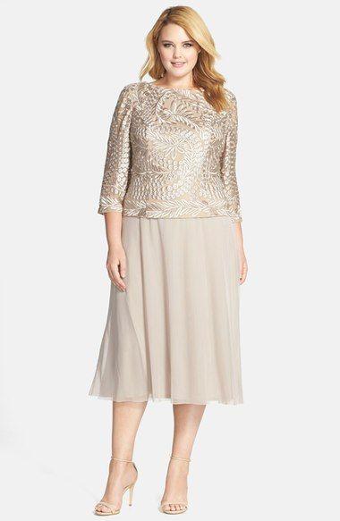 Alex Evenings Draped Back Tea Length Mock Two Piece Dress Plus Size
