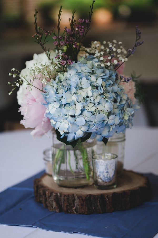 Babybreath hydrangea centerpieces take out pink and add for Pink and blue flower arrangements