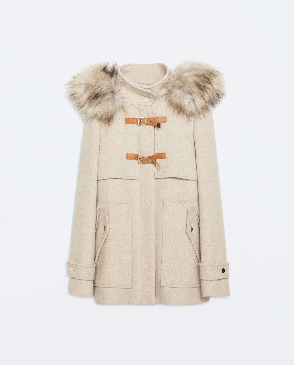 trench en drap de laine capuche bord e de fourrure synth tique manteaux manteaux femme zara. Black Bedroom Furniture Sets. Home Design Ideas