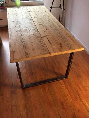 Esstisch Gerustdielen Und Stahl 1 Von Artundweise Auf Dawanda Com Tisch Esstisch Holz Gartentisch Holz