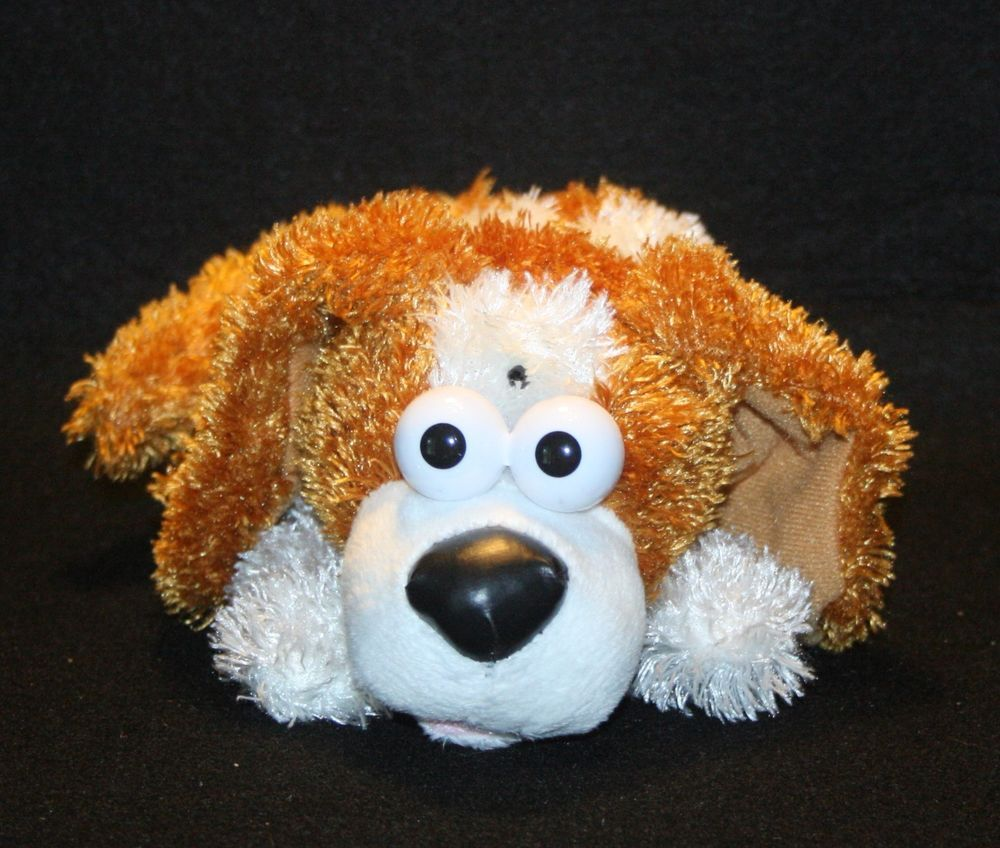 Plush Brown White Laughing Giggling Roll Over Dog Toy By