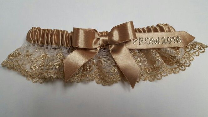 Gold French lace prom garter