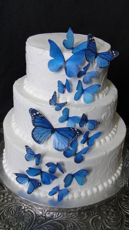 Edible Blue Sparkle Butterflies Wafer Wedding Cake Cake Decorations set of 15