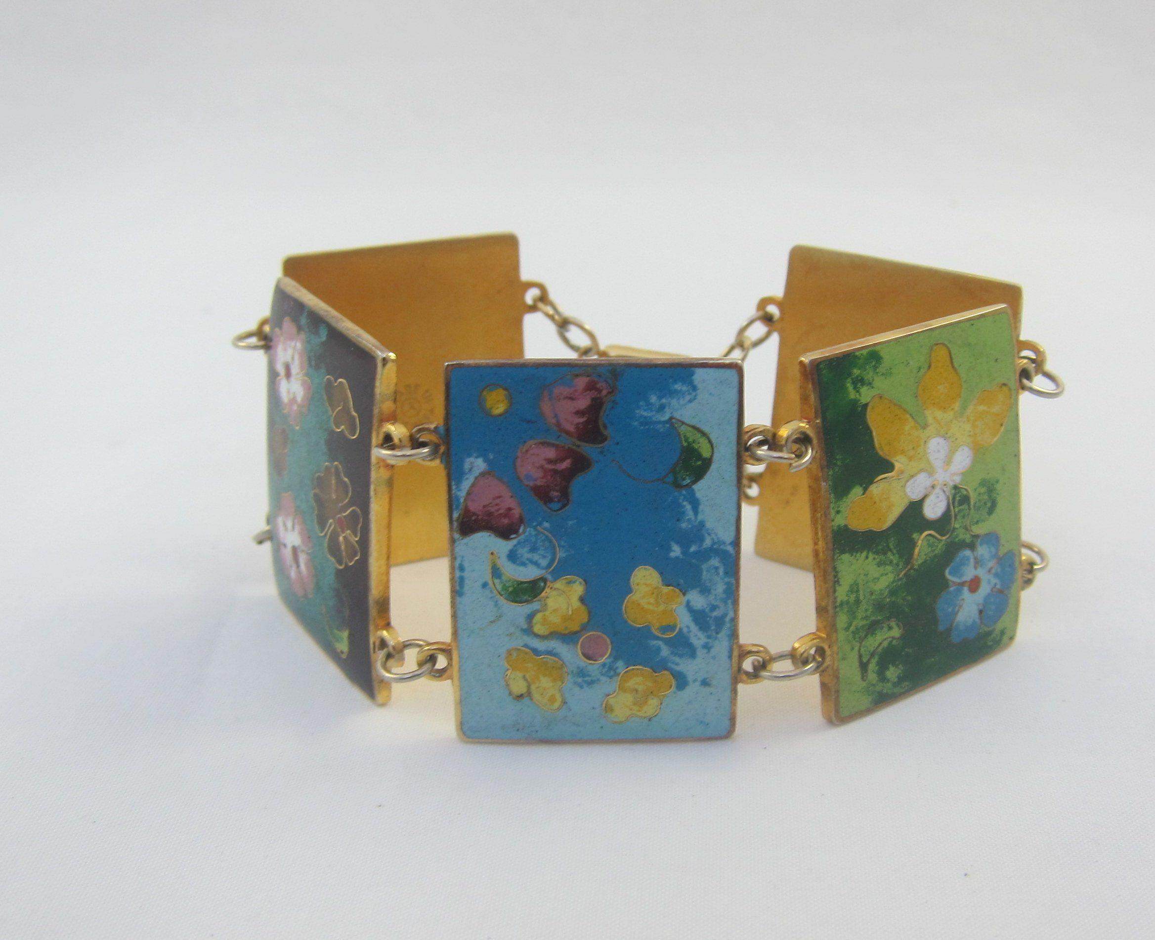 Sale Beautiful Wide Signed Robert Kuo Enamel Cloissone Bracelet 5 Panels