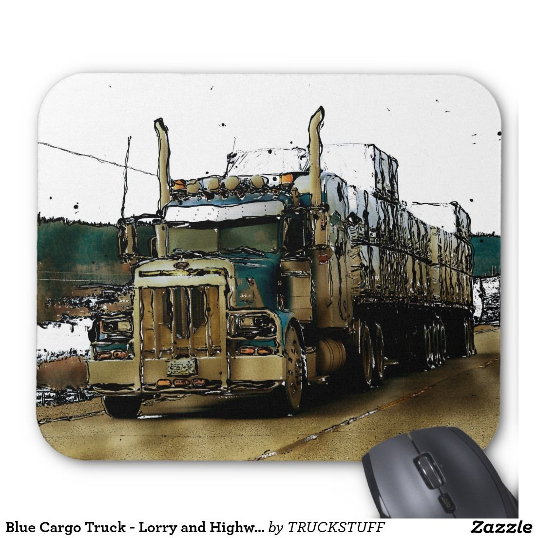 Blue Cargo Truck Lorry And Highway Art 2 Mouse Pad With Images