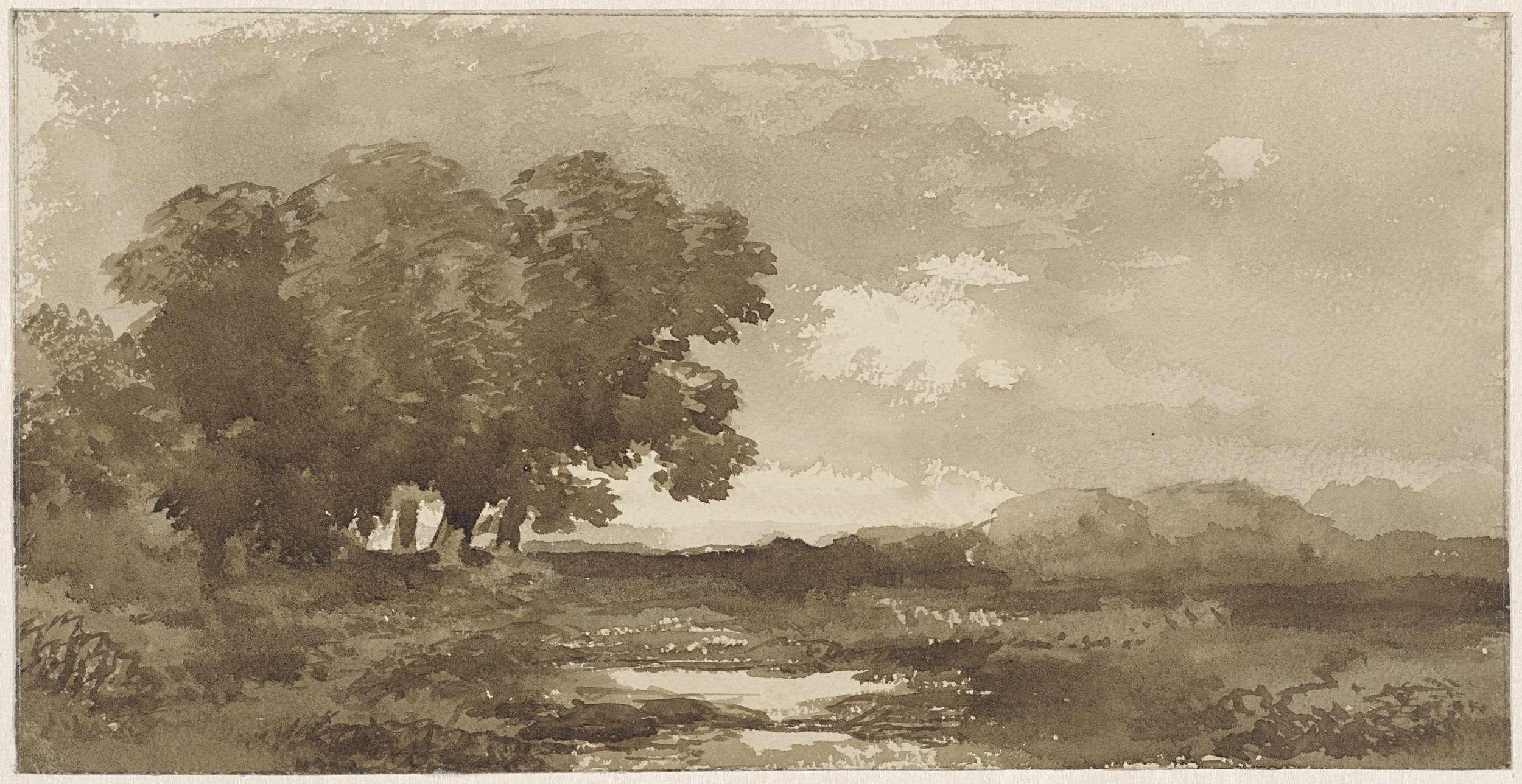 Remigius Adrianus Haanen   Landschap met links bomengroep, Remigius Adrianus Haanen, 1822 - 1894  