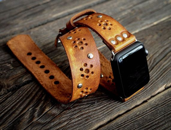 13d330de002985 Vintage Bohemian Boho Double Tour Band - Wrap Band Apple Watch Band Strap - Handmade  leather band for Apple Watch 38mm
