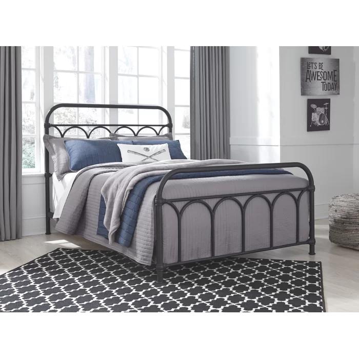 Varela Standard Bed Black Metal Bed Metal Beds Queen Metal Bed