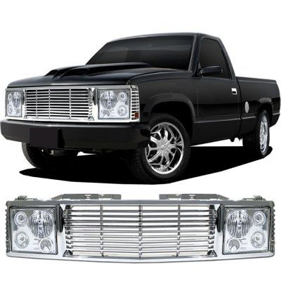 Chevy 1500 Pickup 1994 1998 Chrome Billet Grille And Headlight Conversion Kit Chevy 1500 Gmc Sierra Chevy