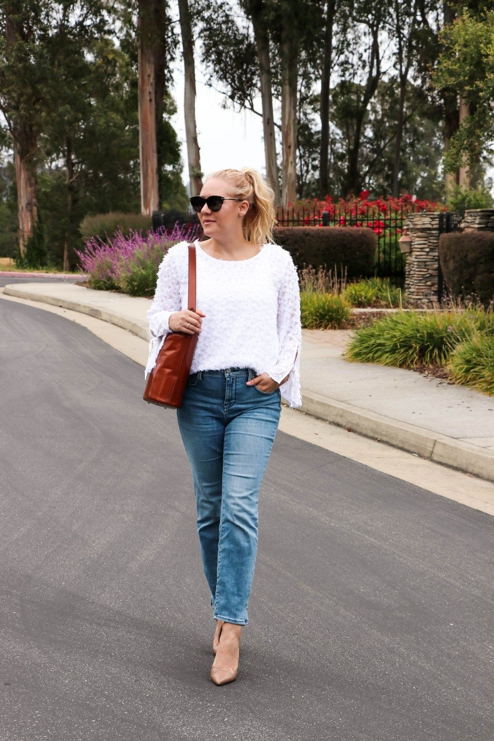Sharing how I styled this clip dot blouse for day to night on Have Need Want! Head on over to the post to see both looks. #daytonight #stylingtips #outfitinspo #outfitinspiration #workwear #workwearoutfits