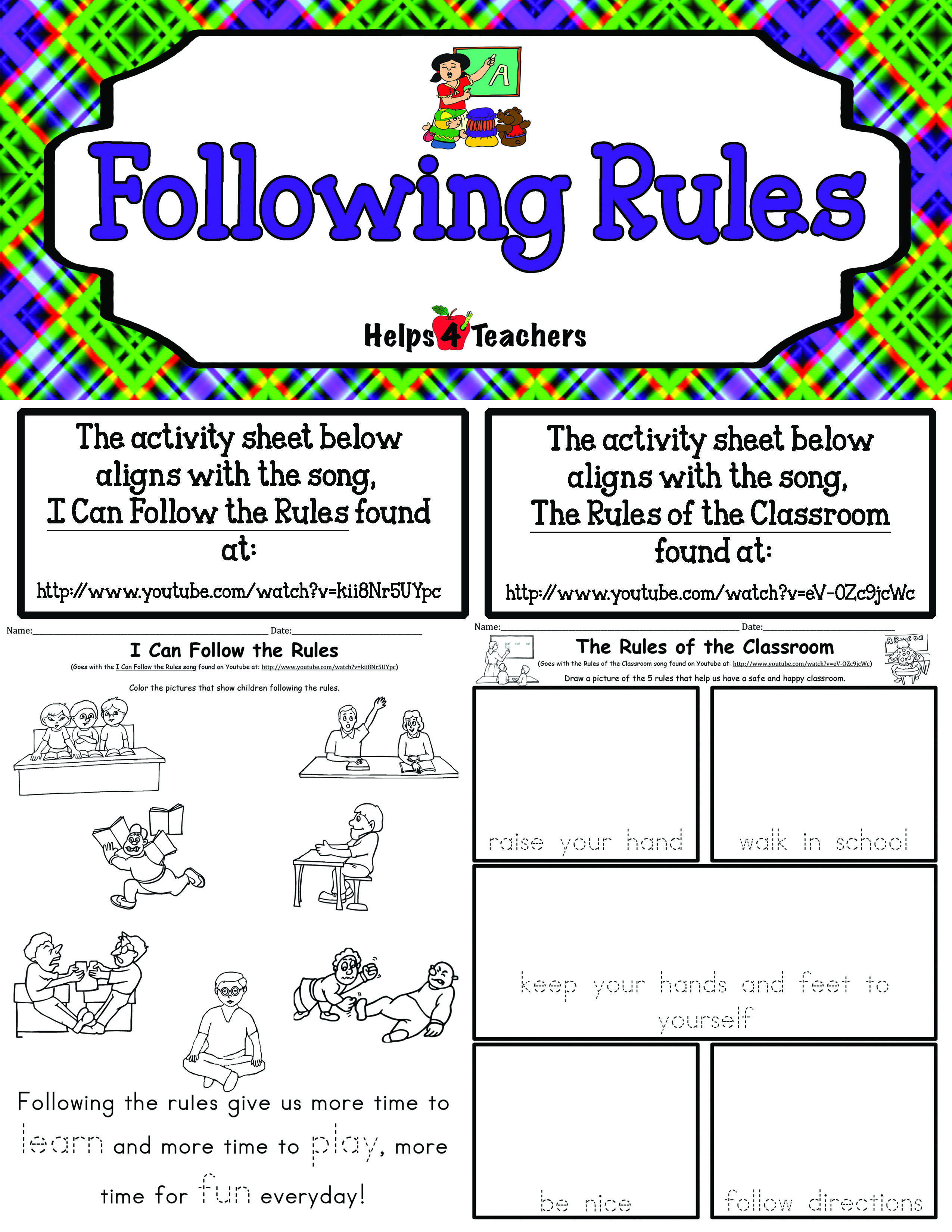 Following Classroom Rules Worksheet   Printable Worksheets and Activities  for Teachers [ 3300 x 2550 Pixel ]