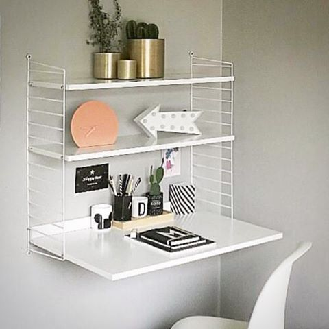 Photo of Buy String Furniture bookcase and writing desk – white online. We have price match and free …