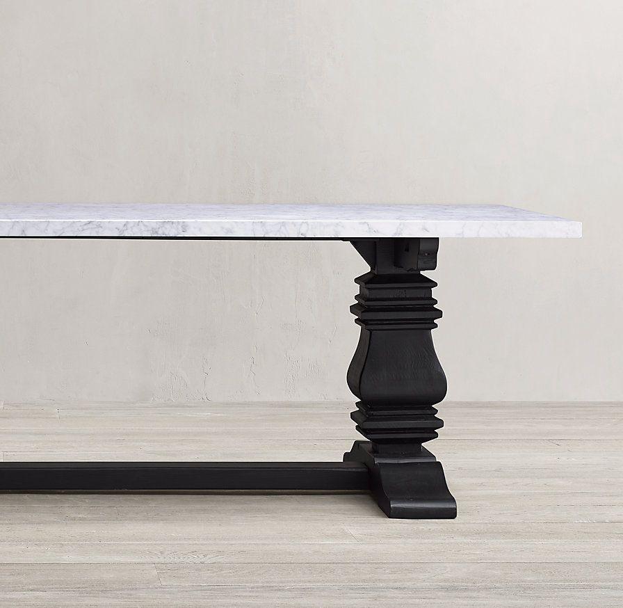Salvaged Wood Marble Trestle Rectangular Dining Table In 2020 Dining Table Marble Rectangular Dining Table Marble Top Dining Table
