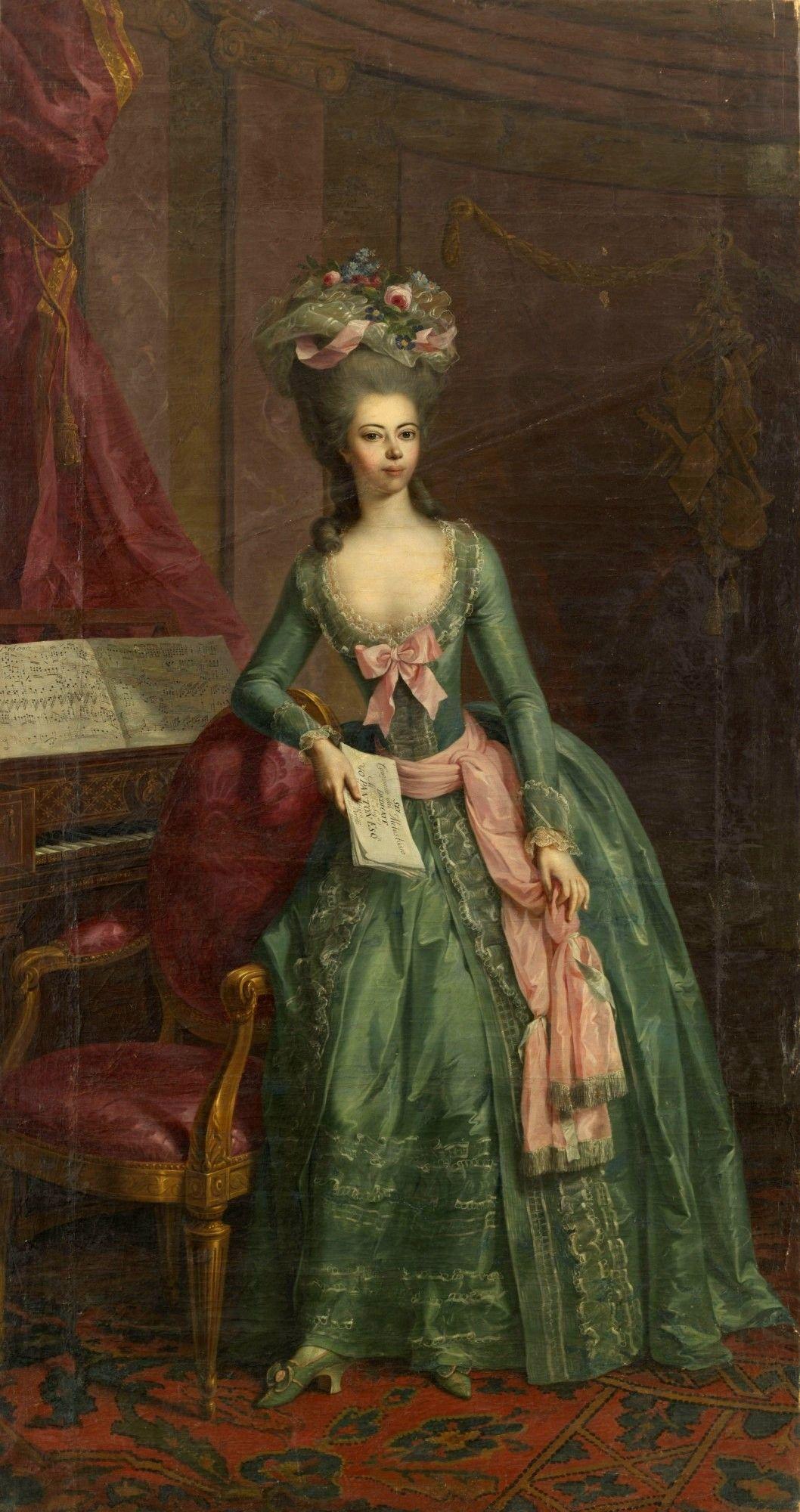 Portrait of Juliane Fürstin zu Schaumburg-Lippe c.1781 (Johann Heinrich  Tischbein the Elder   The Athenaeum - LOVE this gown!