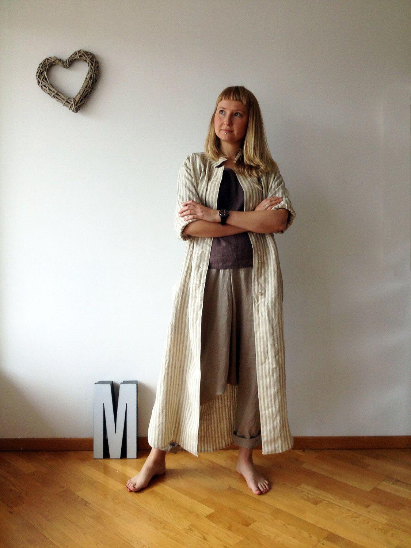 Linen Maxi Shirt Maxi Jacket Dress Lightweight Coat Long Linen