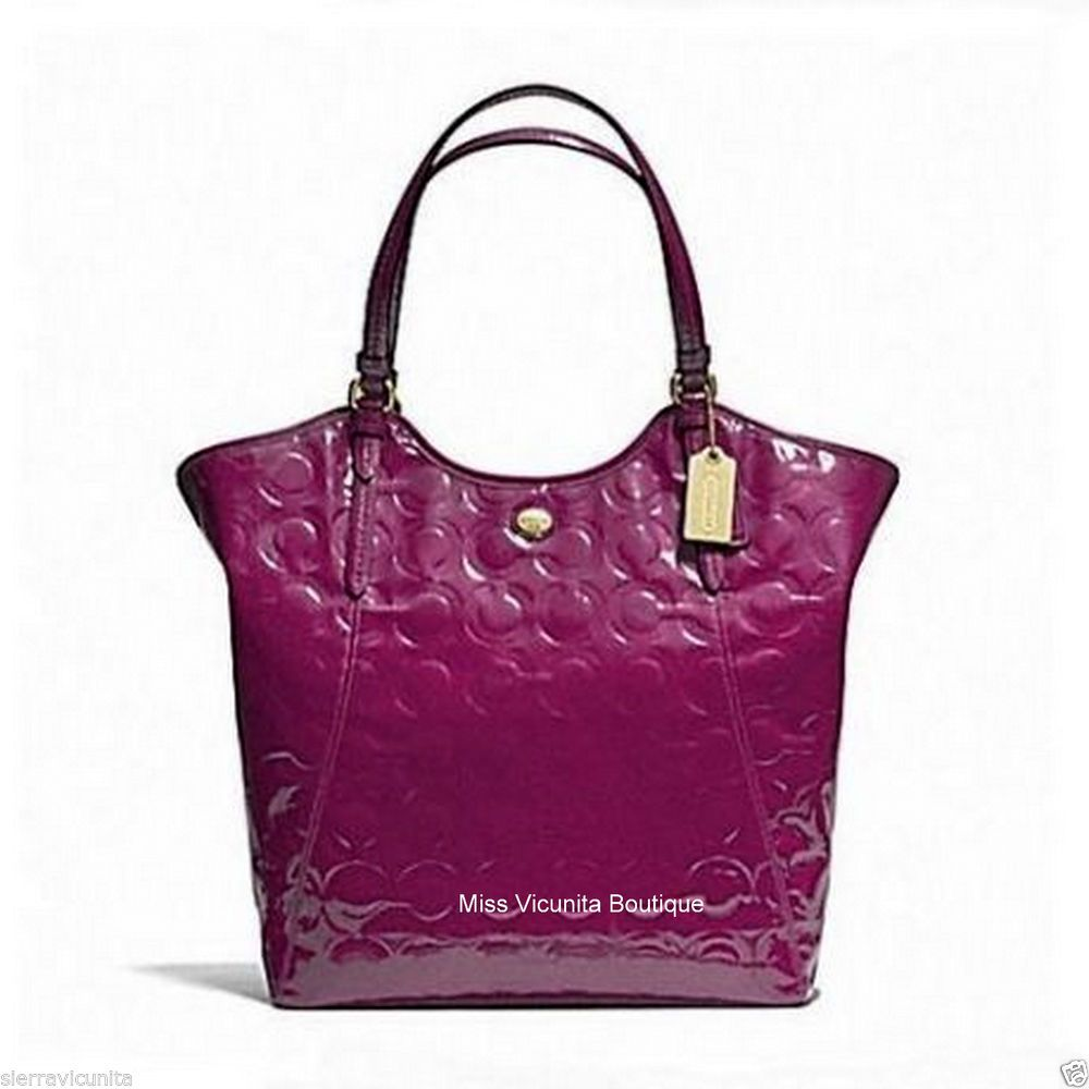 Coach Peyton Op Art Embossed Patent Large Tote Hand Bag F25703 B4/Passion Berry