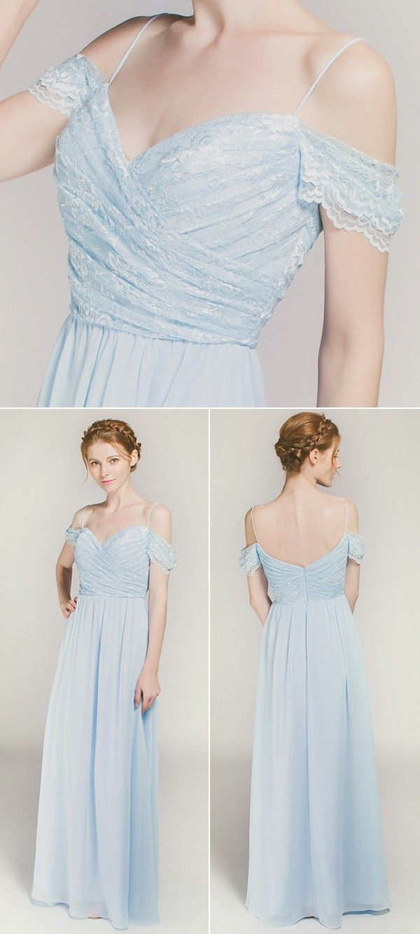 Long off shoulder lace bridesmaid dress with spaghetti straps