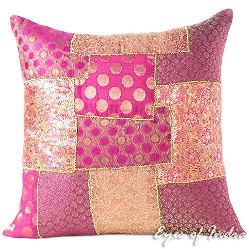 Eyes Of India 20 Pink Silk Brocade Decorative Throw Sofa Pillow