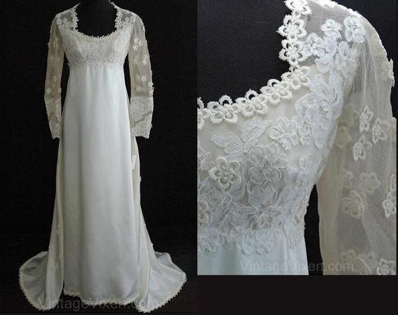 Size 6 Wedding Dress Gorgeous 1960s Empire Satin Bridal Gown
