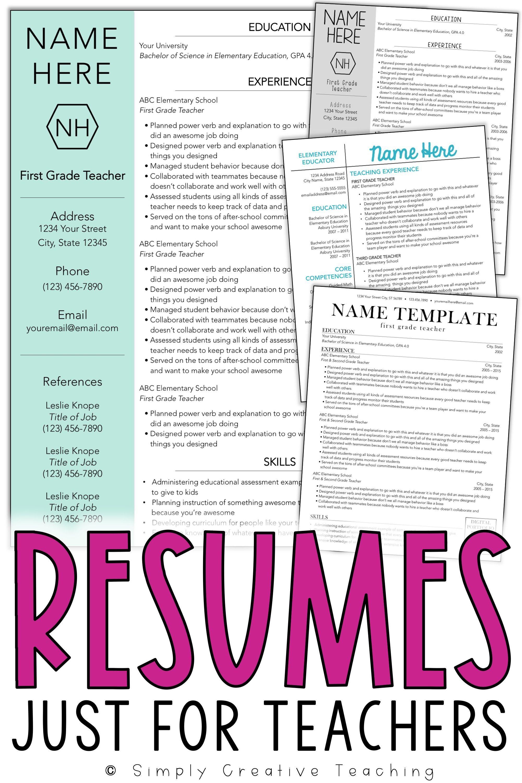 Resume Templates Editable Teacher resume template