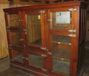 Antique Oak Ice Box For Drinks And Beer Display From An