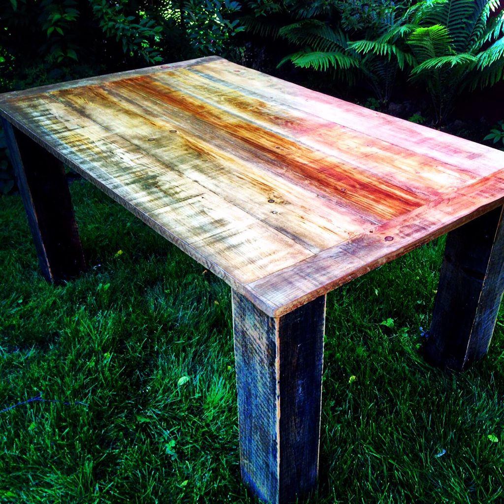 Harvest table made with reclaimed barn wood. 5 and a half feet long by 40 inches wide by 30 inches high. Great for the kitchen or dining room.