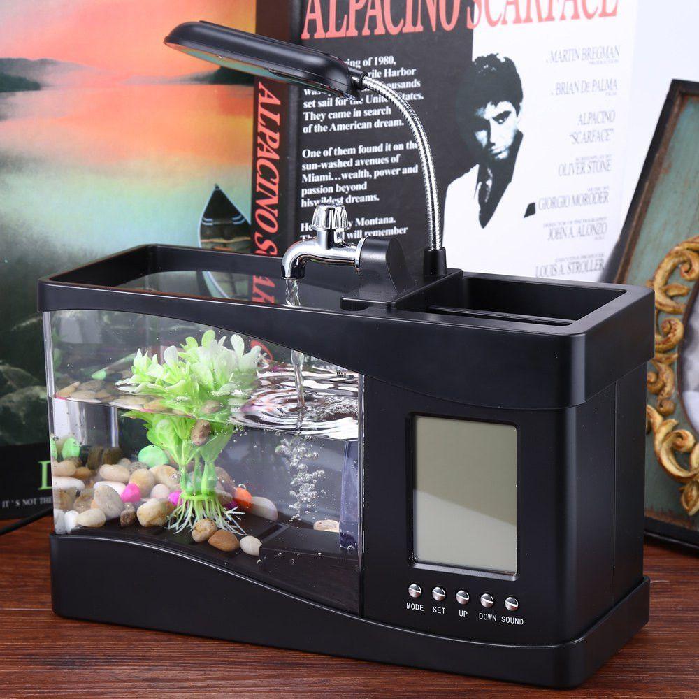 Usb mini aquarium fish tank with colorful light - Usb Mini Fish Tank Desktop Electronic Aquarium Fish Tank With Water Running Led Pump Light Calendar