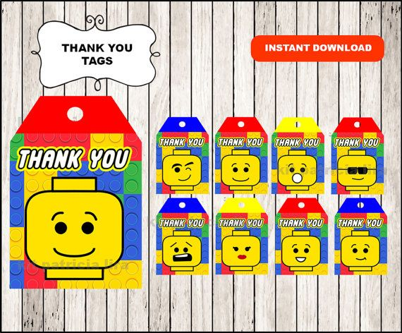 Lego Thank you Tags instant download , Lego printable Thank you Tags