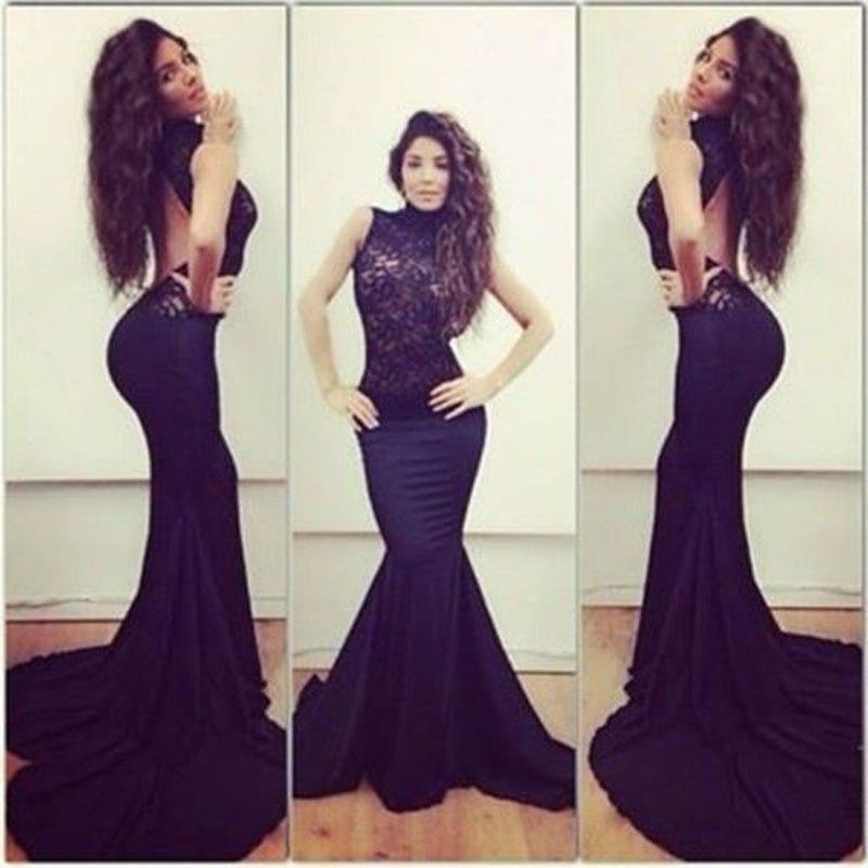 Sexy Women Open Back Lace Dress Embroidered Mermaid Prom Maxi Long ...