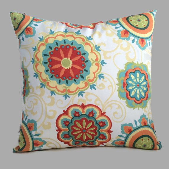 Floral Coastal Outdoor Zippered Throw Pillow Cushion Cover Mill Creek  Designer Red Yellow Blue Beach House Patio Lanai Sunroom Decor By  MarolizanaDesigns On ...