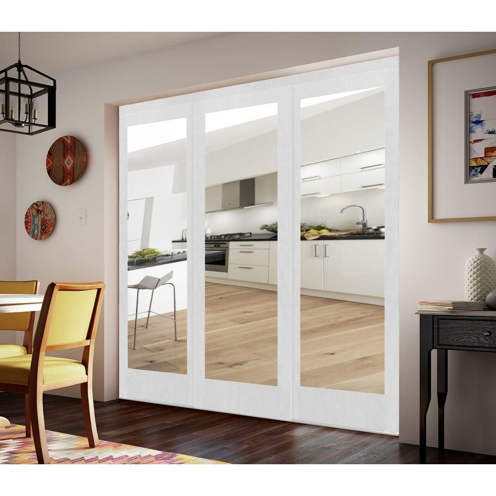 Impact Plus 84 In X 80 In Mir Mel White Mirror Solid Core Mdf Interior Closet Sliding Door With White Trim Smmw343 8480m The Home Depot Sliding Mirror Closet Doors Sliding Closet Doors