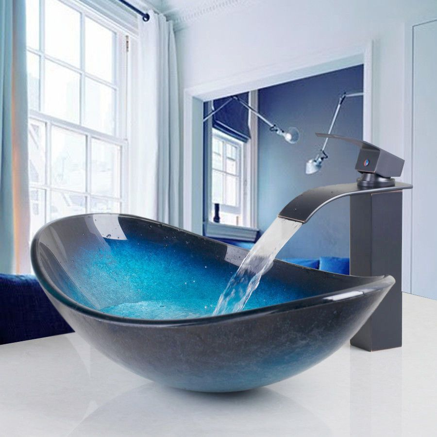 Blue Tempered Glass Vessel Bathroom Sink Waterfall Faucet Pop Up Drain Combo Tap Ebay Bathroomsinks Glass Basin Glass Bathroom Glass Sink