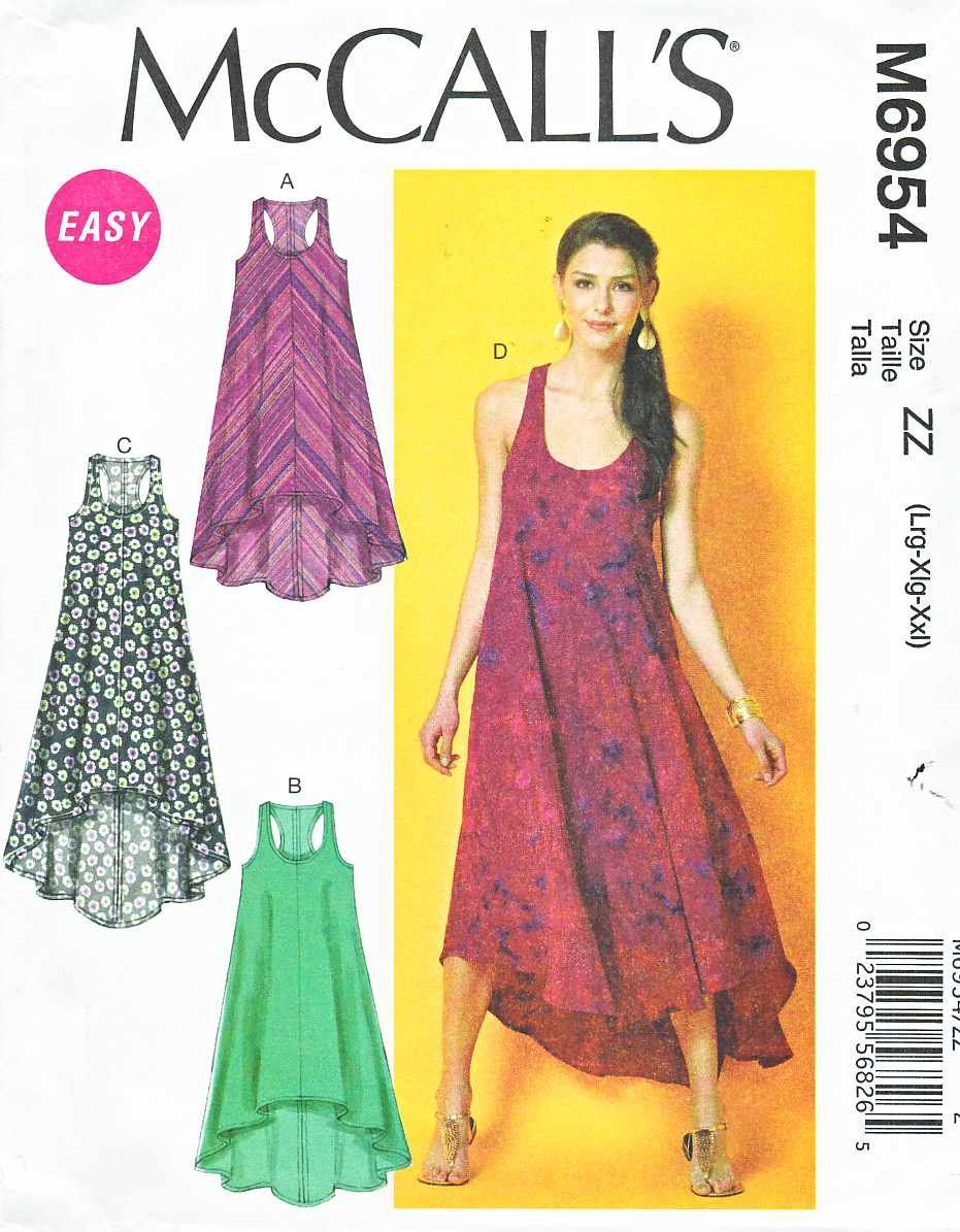 McCalls Sewing Pattern 6954 Misses Size 16-26 Easy Sleeveless ...