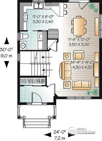 W3709 - Maison champêtre à étage, construction économique, 3 - plan maison etage m